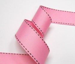 画像1: ピンクに茶のステッチグログラン
