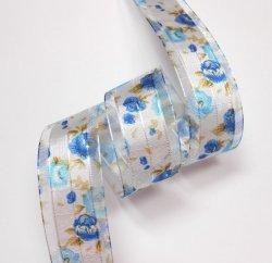 画像1: 25mm青系バラのオーガンジー
